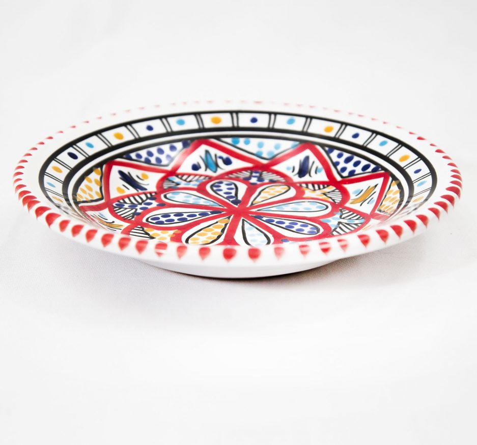 SMALL Deep ROUND PLATE: RED ACCENT-1933