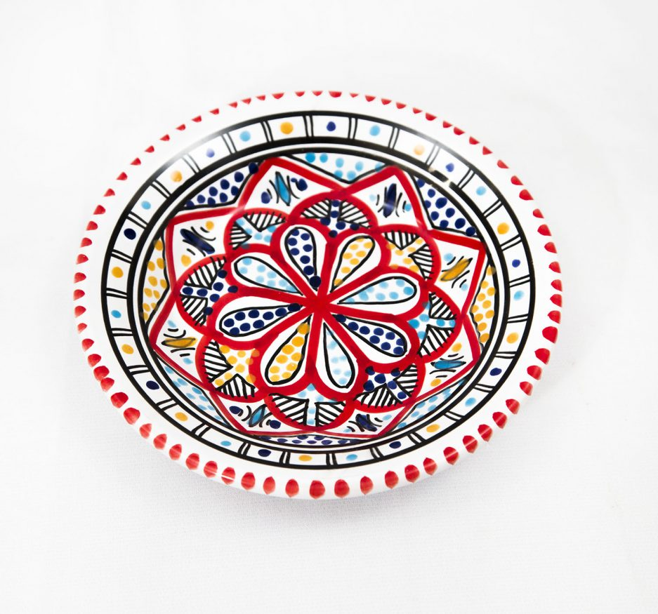 SMALL Deep ROUND PLATE: RED ACCENT-0