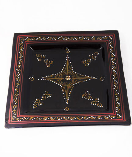 Large Square Plate : Black Painting -0