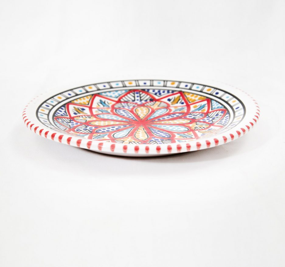 Medium Deep Round Plate : Red Accent -1965