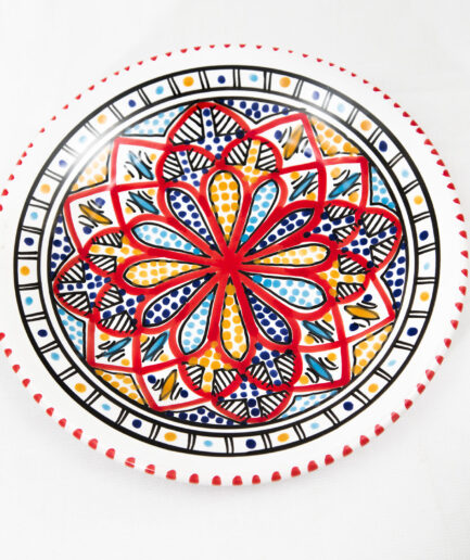 Medium Deep Round Plate : Red Accent -0