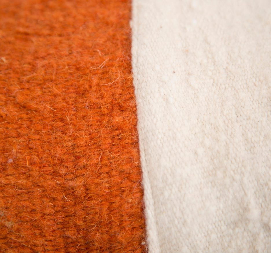 Small wool orange and white pillow-1804