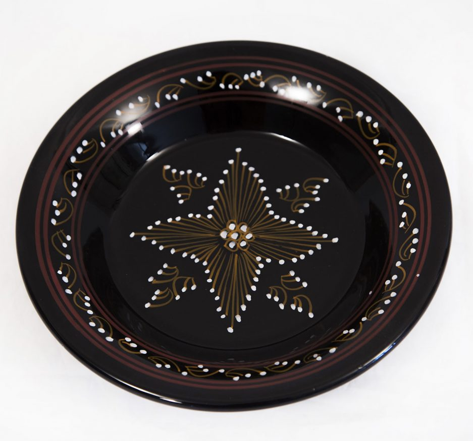 Medium round Plate : Black Painting-0