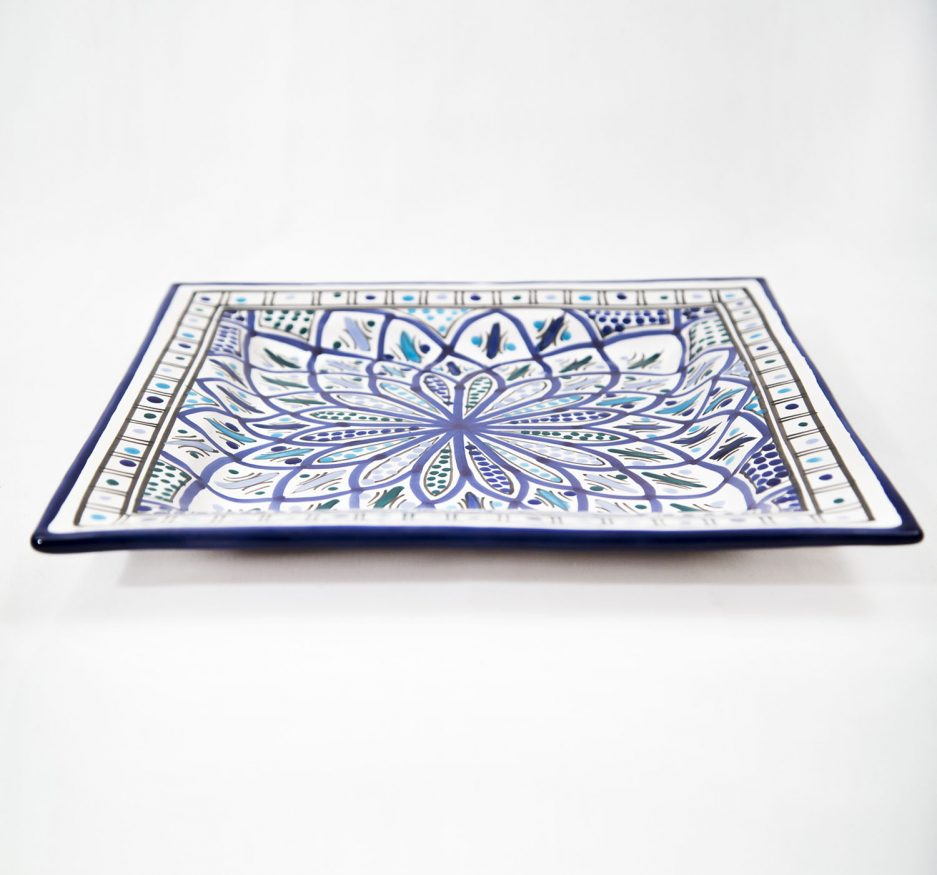 Large Square Plate : Blue Accent-1954
