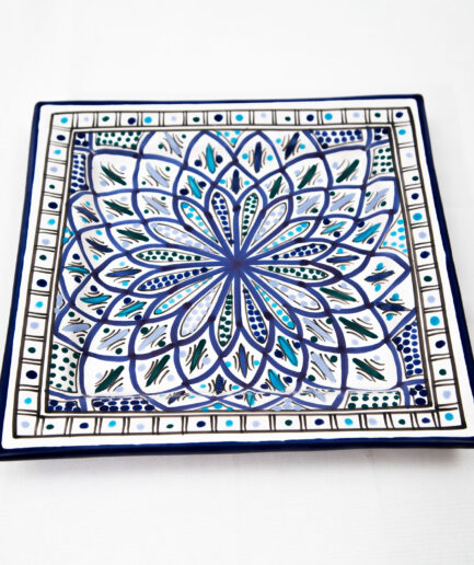 Large Square Plate : Blue Accent-0