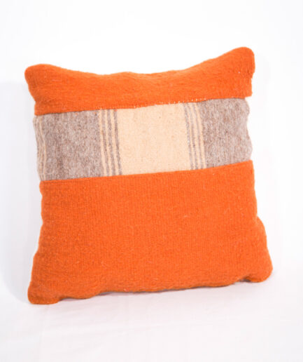 Small ORANGE SUNSET Wool PILLOW-0