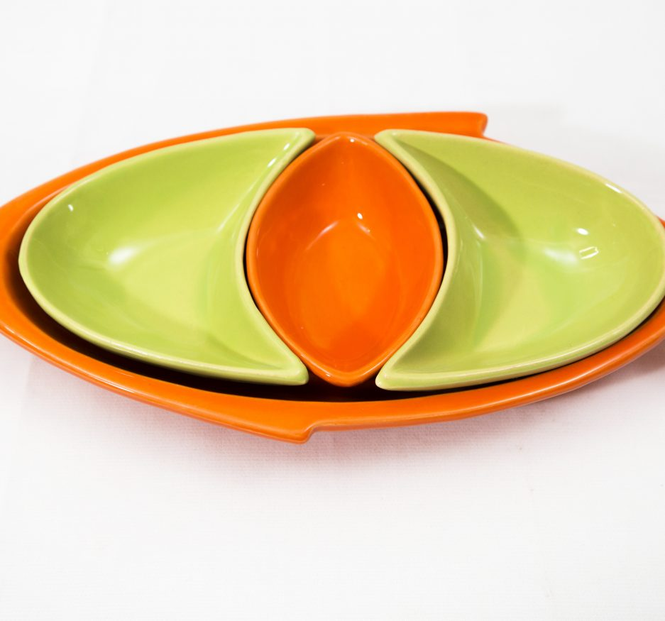 Large Fish Dipper: Orange and Green-0