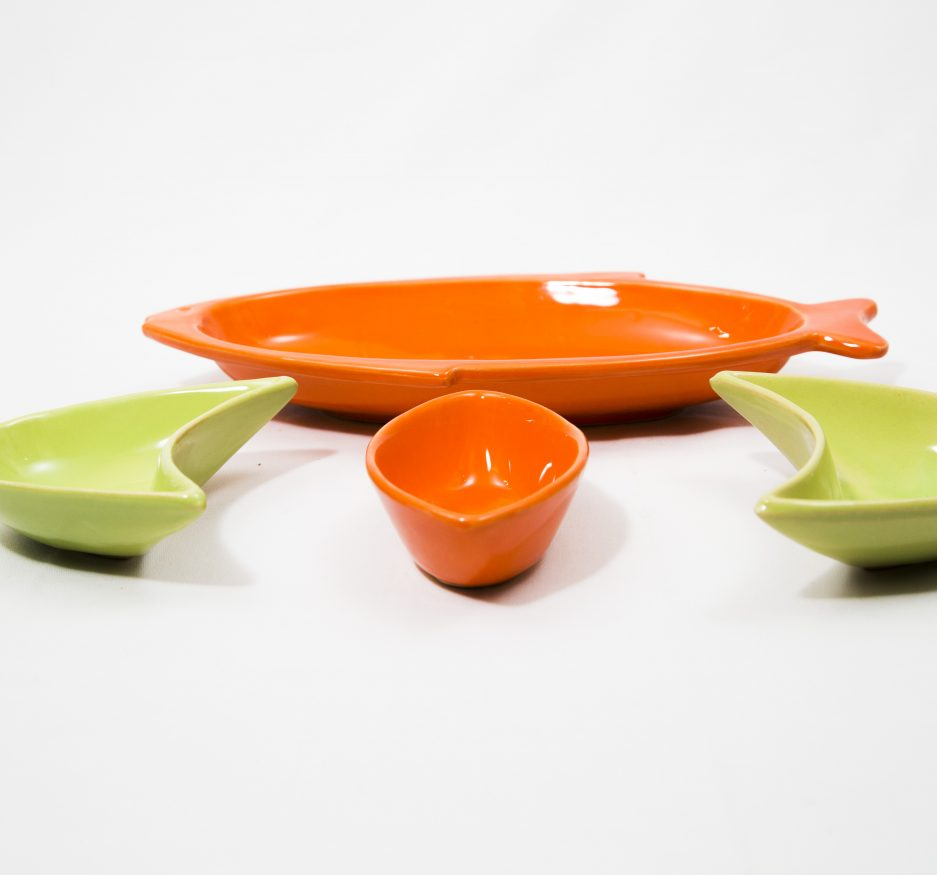 Large Fish Dipper: Orange and Green-2416