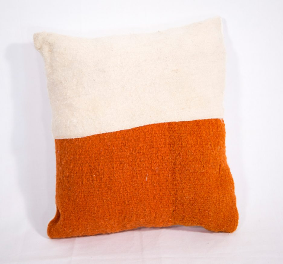 Small wool orange and white pillow-0